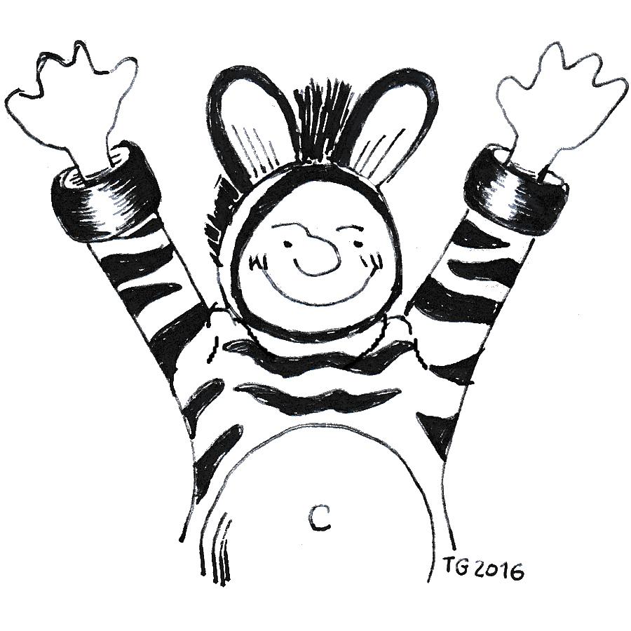 commencer Zeb le zebre qui est en joie